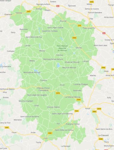 mapa Morvan