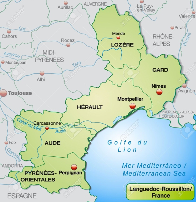 25020508-map-of-languedoc-roussillon-with-borders-in-pastel-green